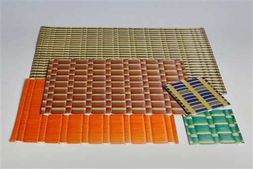 Hanagoza 花ござ, des nattes de tables fabriquées à partir de chutes de jonc de tatami